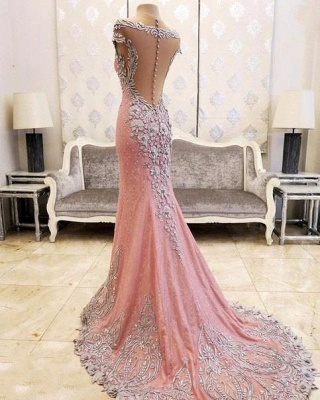 Pink Mermaid Crystals Evening Dress Beading Luxurious Formal Dresses_3