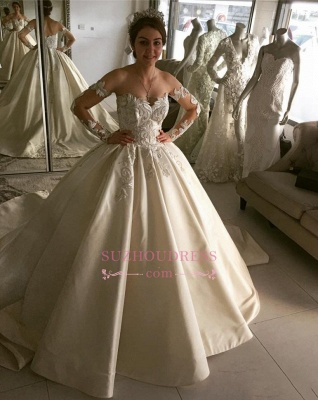 Elegant Long-Sleeve Wedding Dresses | Lace Ball Gown Bridal Dresses_1