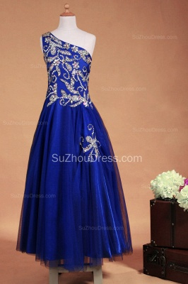 Royal Blue Flower Girl Dresses sequins rhinestone crystal One Shoulder Zipper Floor Length Pageant Dresses_2