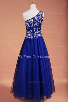 Royal Blue Flower Girl Dresses sequins rhinestone crystal One Shoulder Zipper Floor Length Pageant Dresses_3