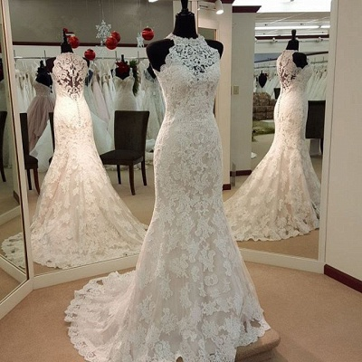 Retro High Neck Mermaid Lace Wedding Dresses Sleeveless Vintage Bridal Dress BA3705_3