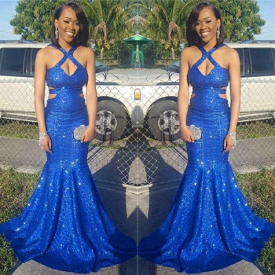 New Arrival Sequined Royal Blue Mermaid Prom Dresses Sleeveless Sexy Evening Gowns_3