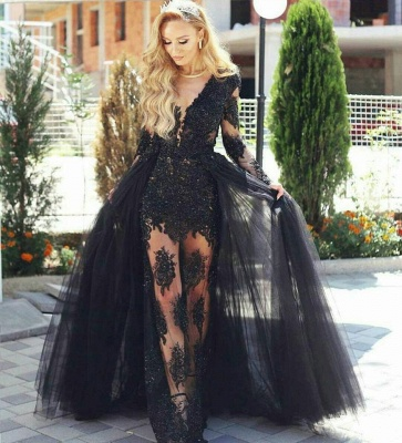 Glamorous Black Tulle Lace Prom Dresses  Long Sleeves Evening Gowns with Detachable Skirt BA7963_3