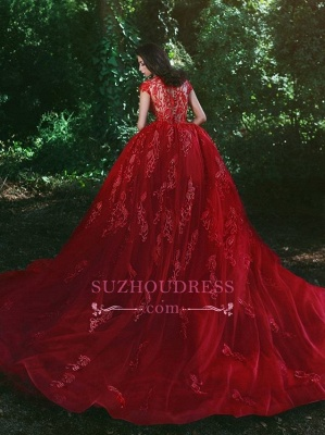 Glamorous Applique Red Over-Skirt V-Neck Lace Prom Dresses BA7655_5