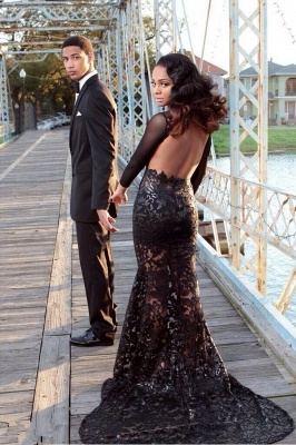 Elegant Black Lace Prom Dresses Backless Tulle Sheer Long Sleeves Sweep Train Gowns SZSM581_3