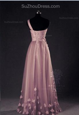 Pink Evening Dresses One Shoulder Floor Length Flower Appliques Chiffon Lace-up  Prom Dresses_2