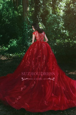 Glamorous Applique Red Over-Skirt V-Neck Lace Prom Dresses BA7655_3