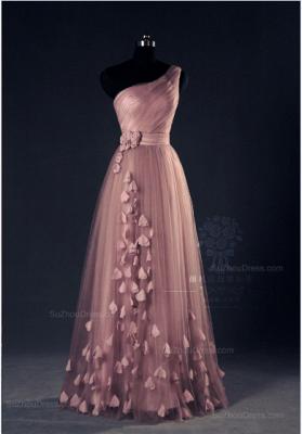 Pink Evening Dresses One Shoulder Floor Length Flower Appliques Chiffon Lace-up  Prom Dresses_1