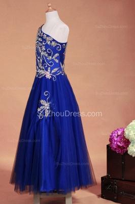 Royal Blue Flower Girl Dresses sequins rhinestone crystal One Shoulder Zipper Floor Length Pageant Dresses_7