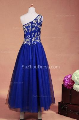 Royal Blue Flower Girl Dresses sequins rhinestone crystal One Shoulder Zipper Floor Length Pageant Dresses_8
