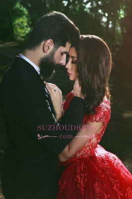 Glamorous Applique Red Over-Skirt V-Neck Lace Prom Dresses BA7655_4