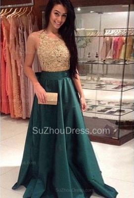 Charming Prom Dress  Jewel Sleeveless Sweep Train A Line Appliques Green Evening Gowns_1