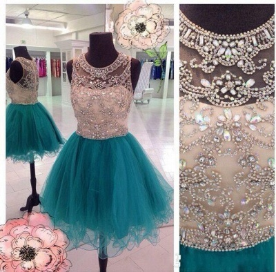 Sparkly Unique Beaded Homecoming Dresses  Puffy Organza Luxurious Party Dresses_3