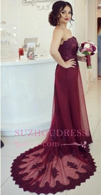 Open-Back  Elegant Court-Train Appliques Strapless Lace Burgundy Prom Dress_2