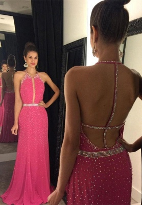 Full Sequins Beading Prom Dresses Sexy Open Back  Evening Gowns_1