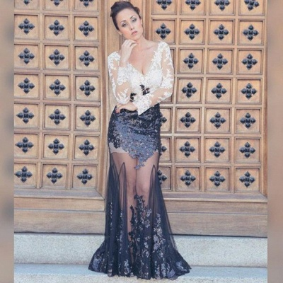 Black and White Lace Sheer Tulle  Prom Dress V-neck Long Sleeve Evening Dress_3