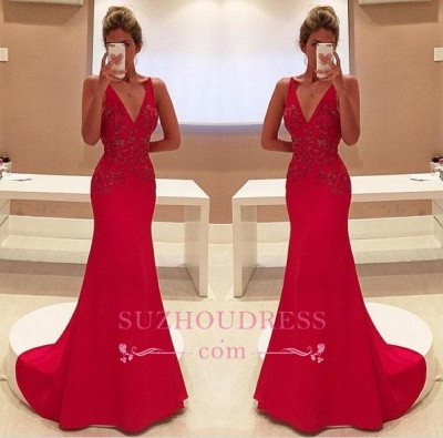 Red Two Straps V-Neckline Sleeveless With Appliques Long Prom Dress_1