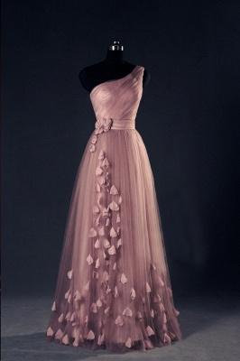 Pink Evening Dresses One Shoulder Floor Length Flower Appliques Chiffon Lace-up  Prom Dresses_3