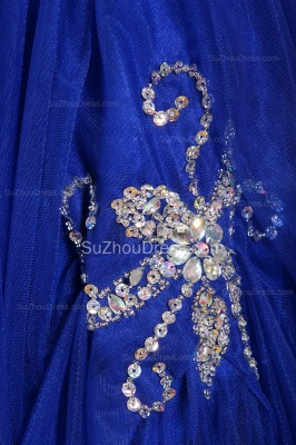 Royal Blue Flower Girl Dresses sequins rhinestone crystal One Shoulder Zipper Floor Length Pageant Dresses_6