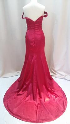 Red Mermaid Off Shoulder Evening Dresses V-Neck Backless Stunning  Prom Gowns_3