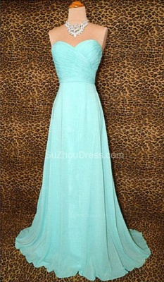 Blue Prom Dresses  Sweetheart Sleeveless A Line Sweep Train Chiffon Lace-up Evening Gowns_1