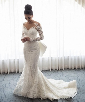 Gorgeous Mermaid Lace Wedding Dress with Sleeves | Bowknot Detachable Overskirt  Bride Dress_3