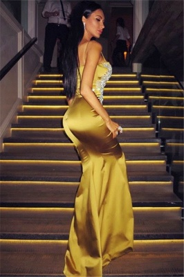 Spaghetti Straps Sexy Mermaid Gold Evening Gown Silver Appliques  Formal Dress BA7170_3