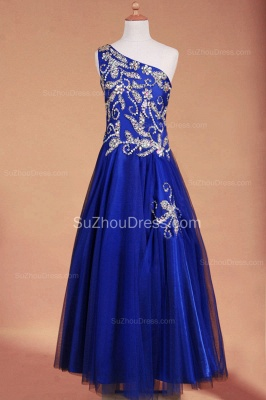 Royal Blue Flower Girl Dresses sequins rhinestone crystal One Shoulder Zipper Floor Length Pageant Dresses_4