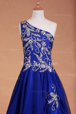 Royal Blue Flower Girl Dresses sequins rhinestone crystal One Shoulder Zipper Floor Length Pageant Dresses_5