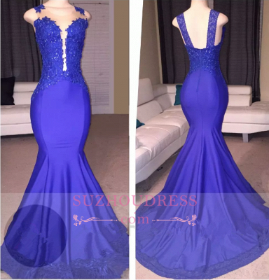 Sleeveless  Mermaid Appliques Sexy Court-Train Prom Dress_1