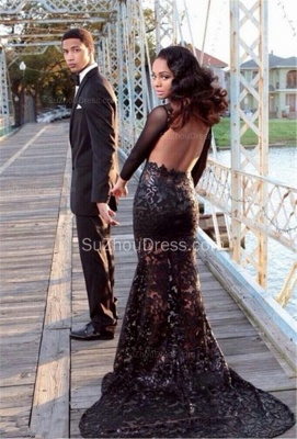 Elegant Black Lace Prom Dresses Backless Tulle Sheer Long Sleeves Sweep Train Gowns SZSM581_1