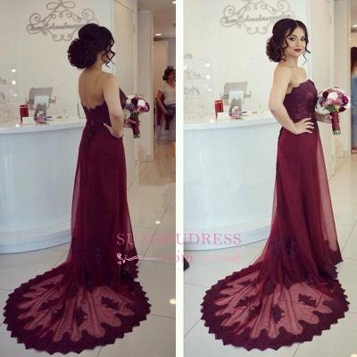 Open-Back  Elegant Court-Train Appliques Strapless Lace Burgundy Prom Dress_1