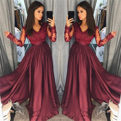 Long Sleeve Burgundy Lace Prom Dress   V-neck New Arrival Formal Evening Dress with Split FB0205_3