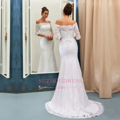 Half Sleeves Bride Dress Lace Simple Sweep Train Off-the-shoulder Lace-up Sheath Column Wedding Dress_3
