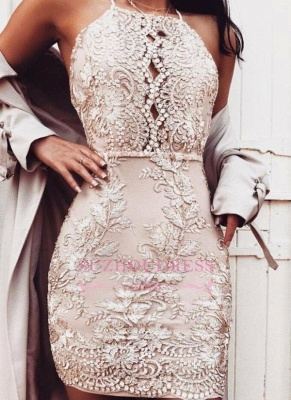Short Sheath Champagne Hoco Dresses  | Beading Halter-Neck Homecoming Dresses_4