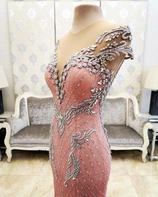 Pink Mermaid Crystals Evening Dress Beading Luxurious Formal Dresses_6