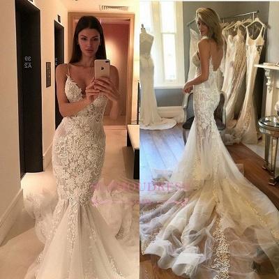 Charming Spaghetti-Strap Mermaid Wedding  Dress Lace Zipper Button Tulle Bridal Gowns_1