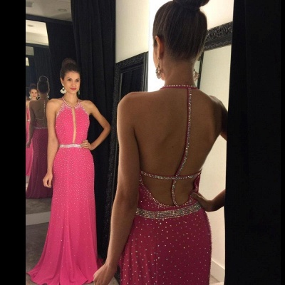 Full Sequins Beading Prom Dresses Sexy Open Back  Evening Gowns_4