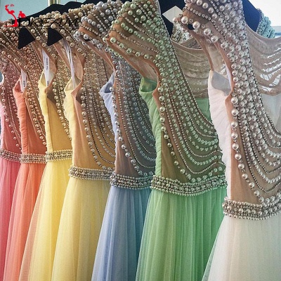 Open Back Ruffles Prom Dresses Pearls Evening Gowns_3