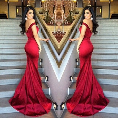 Red Mermaid Off Shoulder Evening Dresses V-Neck Backless Stunning  Prom Gowns_2