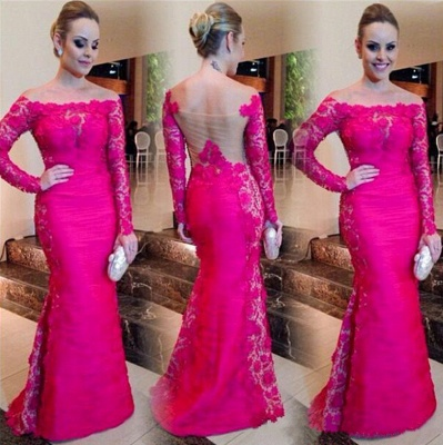 Sexy Fuchsia Mermaid Formal Occasion Dress Bateau Long Sleeeve Lace Evening Gown CE0115_3