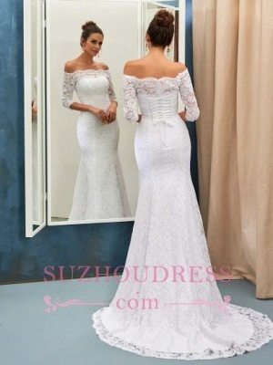 Half Sleeves Bride Dress Lace Simple Sweep Train Off-the-shoulder Lace-up Sheath Column Wedding Dress_1
