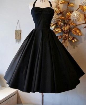 Black Halter A-Line  Homecoming Dresses Elegant Simple Mini Cocktail Dress_1