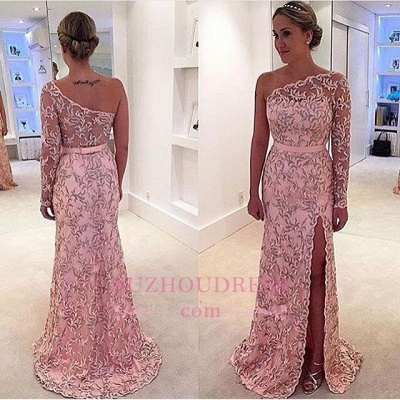 One Shoulder Long Sleeve Leaf Pattern Pink Long Prom Dress  BA4407_1