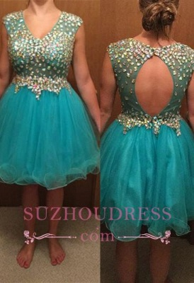 Short Gorgeous Tulle Crystal Sleeveless Homecoming Dress_6