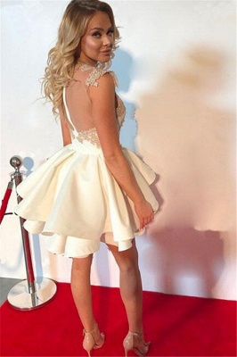 High Neck Champagne Lace Homecoming Dresses Sexy | Tiered Mini Sheer Tulle  Hoco Dresses_4