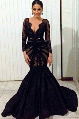 Long Sleeve Black Lace Deep V-neck Evening Dresses Sheer Tulle  Prom Gowns CE0049_1
