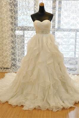 Elegant Sweetheart Ruffles A-line Wedding Dresses  Crystal Lace-up Bridal Gowns_1