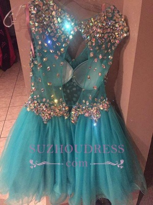 Short Gorgeous Tulle Crystal Sleeveless Homecoming Dress_4
