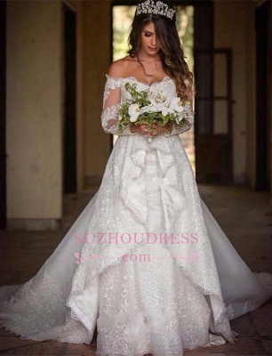Beautiful Lace Off-the-Shoulder Long-Sleeve Princess Wedding Dress_1
